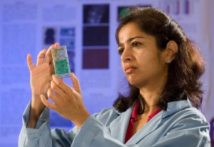 Sharmila Bhattacharya, Ph.D., is the principal investigator for the Fungal Pathogenesis, Tumorigenesis and Effects of Host Immunity in Space (FIT) fruit fly investigation. In this image, Bhattacharya is inspecting the fly experiment containers before flight. (NASA)
