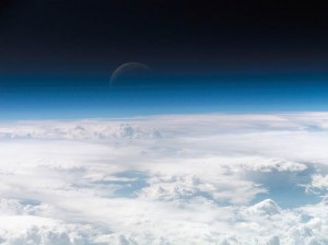 The Earth's atmosphere seen in the thin blue line fading into the darkness of space, as photographed by a crew member aboard the International Space Station. (NASA)
