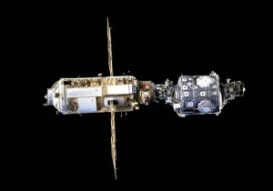 A look at the International Space Station in its early days shows the Zarya module (left) connected to the second element, the US Unity module (right). (NASA)