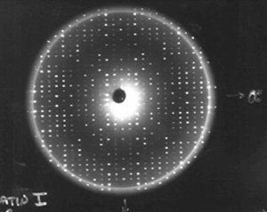Well-ordered protein crystal x-ray diffractions create sharp patterns of scattered light on film. Researchers can use a computer to generate a model of a protein molecule using patterns like this. (NASA)