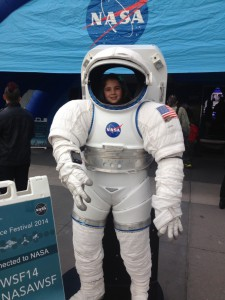 Kids and adults alike got a kick out of the NASA mobile exhibit during the World Science Festival. (Tara Ruttley)