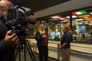 International Space Station commentator Lori Meggs interviews Katie Presson, a payload operations director in the Payload Operations Integration Center, or POIC, at NASA's Marshall Space Flight Center in Huntsville, Alabama. (NASA/Emmett Given)