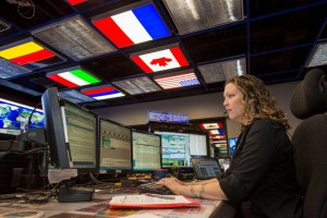 Stephanie Buskirk Dudley working during a shift as an International Space Station payload operations director at NASA's Marshall Space Flight Center in Huntsville, Alabama. (NASA/Fred Deaton)