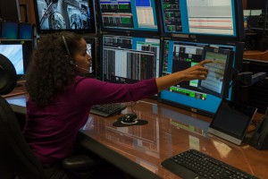 Inside the Payload Operations Integration Center (POIC), Data Management Coordinator (DMC) Candace Jones manages the onboard data and video systems to ensure scientists around the world receive their experimental results. (NASA/Emmett Given)