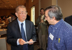 Professor Samuel Ting answers questions while attending the 2014 International Space station Research and Development Conference in Chicago, where he was a keynote speaker on the topic of the Alpha Magnetic Spectrometer. (NASA/Bill Hubscher)