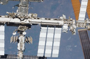 A view of the Alpha Magnetic Spectrometer-02 (AMS-02)  as mounted aboard the exterior of the International Space Station. (NASA)
