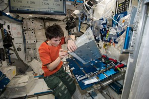 European Space Agency Astronaut Samantha Cristoforetti performs maintenance on a controller panel assembly in the International Space Station's Tranquility module. Life aboard the space station is one of constant maintenance and working with science investigations. (NASA)