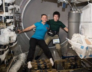 ESA astronaut Samantha Cristoforetti and Roscosmos cosmonaut Yelena Serova live and work aboard the International Space Station as part of the current crew. (NASA)