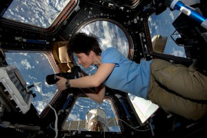 Samantha Cristoforetti taking images of the Earth from the International Space Station's cupola. (NASA)