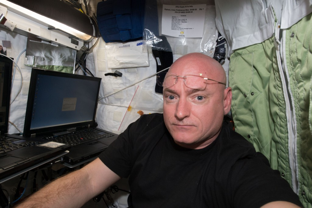 An image of NASA astronaut Scott Kelly after arriving aboard the ISS to begin his year-long stay in space. (NASA)