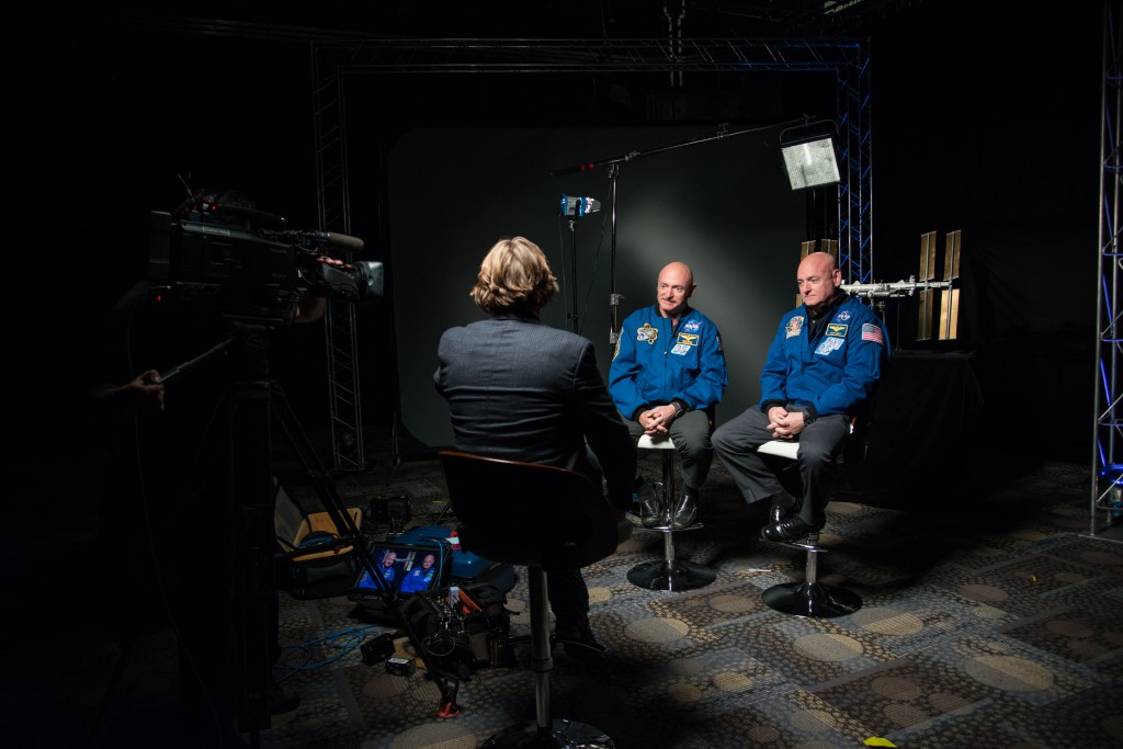 During a news conference on Jan. 19, 2015 at Johnson Space Center in Houston Texas, Expedition 45/46 Commander, astronaut Scott Kelly—along with his brother, former astronaut Mark Kelly—spoke about Scott Kelly's impending one-year mission aboard the International Space Station (ISS). (NASA/Robert Markowitz)