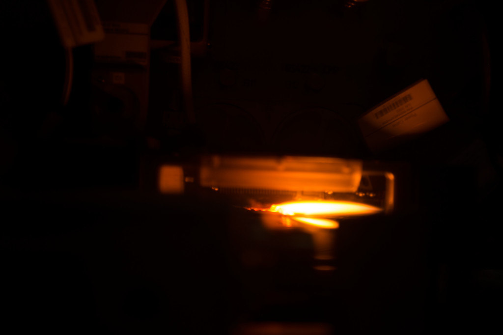 NASA astronaut Tim Kopra tweeted this picture of a flame from the BASS-M operations.