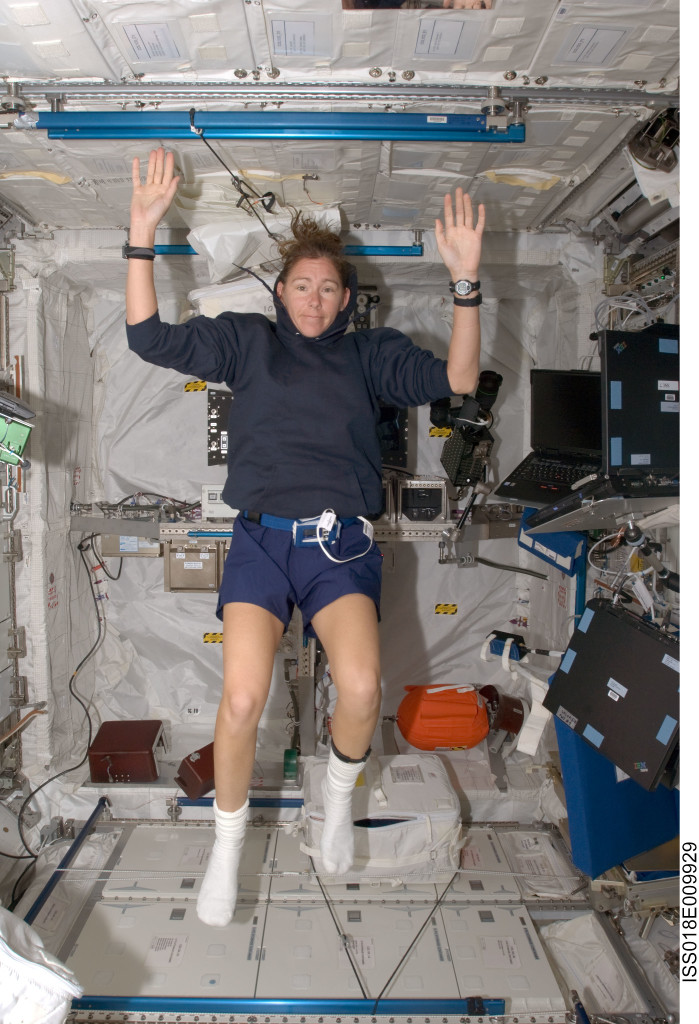 Astronaut Sandra Magnus, Expedition 18 flight engineer, poses for a photo in the Columbus laboratory of the International Space Station. Credits: NASA