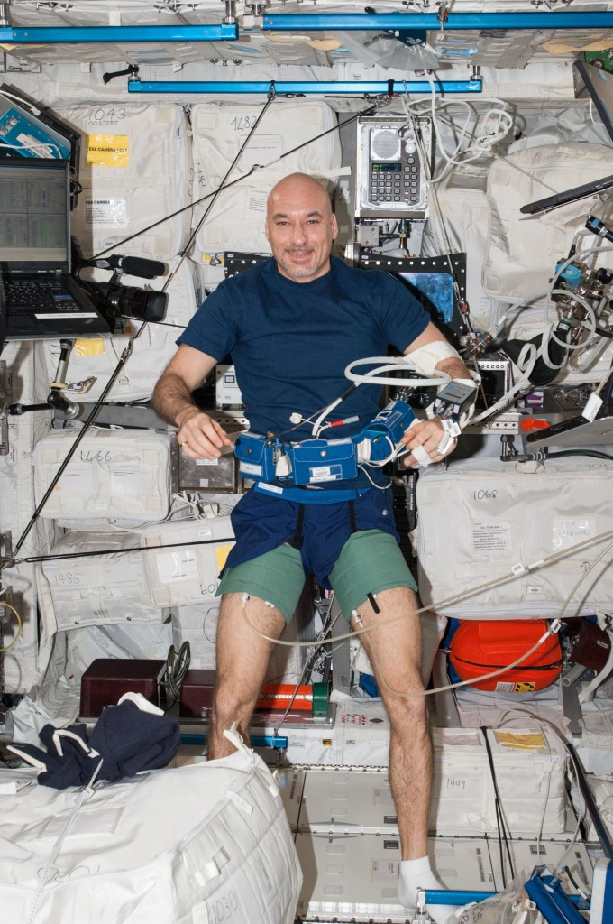 Italian Space Agency (ASI) Astronaut Luca Parmitano, geared up to perform the Canadian experiment BP Reg during Increment 35/36.