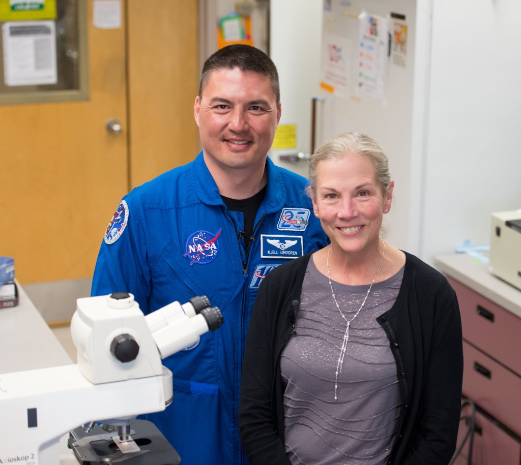 NASA astronaut Kjell Lindgren, M.D., and Twins Study Principal Investigator Susan Bailey, Ph.D., collaborate on telomere research. Both participated in a National DNA Day Reddit AMA on April 25. Credits: Colorado State University/NASA