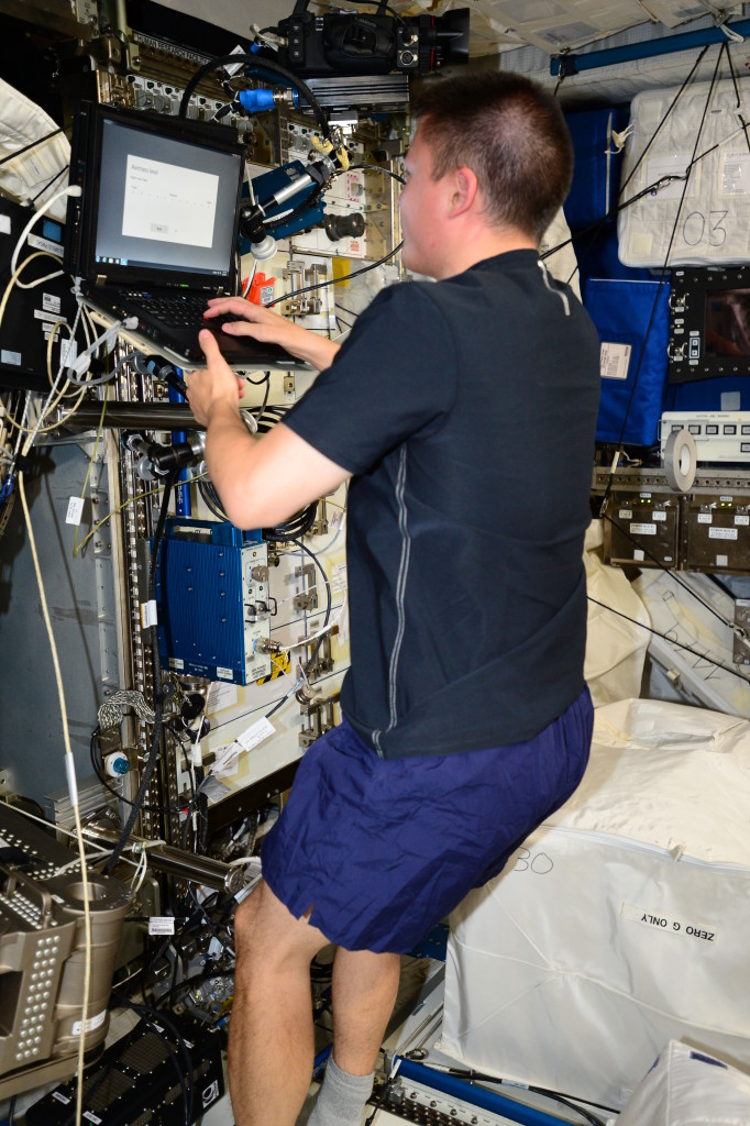 NASA astronaut Kjell Lindgren works through 10 cognitive tests developed to test how spaceflight affects mental abilities. Credits: NASA