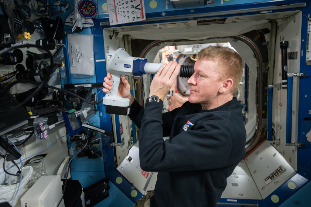 European Space Agency (ESA) Tim Peake, performs Ocular Health fundoscope exam aboard the International Space Station. Credits: NASA
