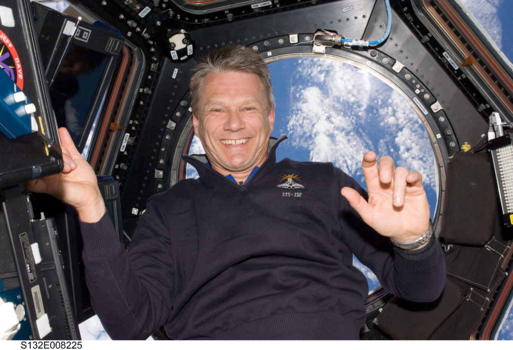 NASA astronaut Piers Sellers is seen in the Cupola aboard the International Space Station during STS-132's mission to the orbiting laboratory. Credits: NASA
