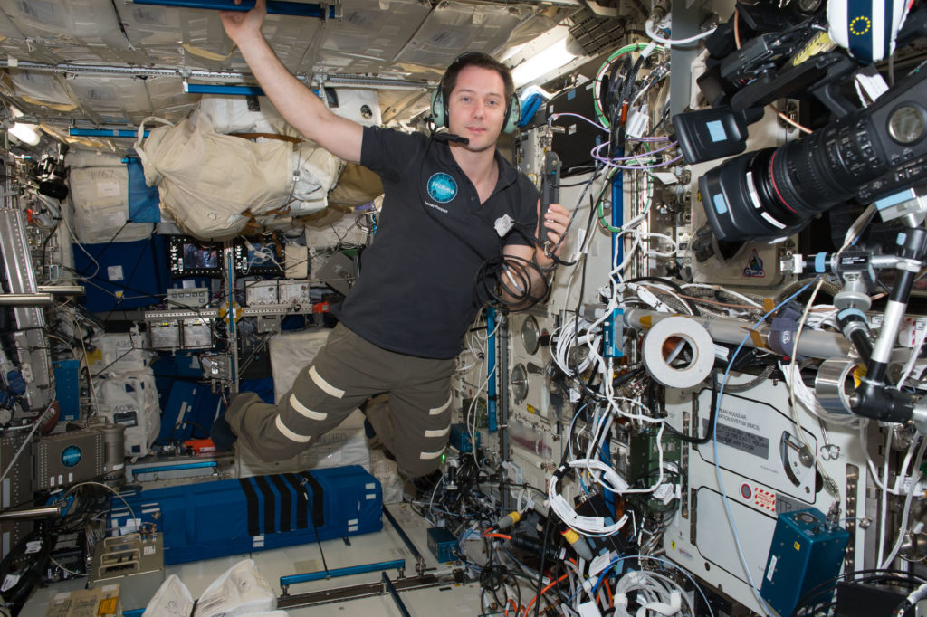 European Space Agency (ESA) astronaut Thomas Pesquet takes a call with students on the ISS Ham Radio aboard the International Space Station. Credits: NASA