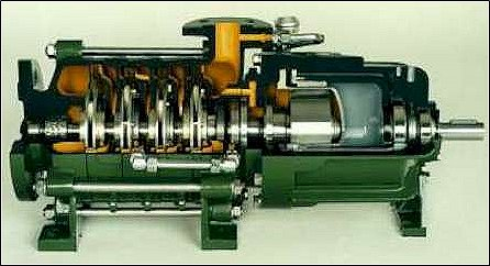 No, this is not a SSME/RS-25 turbopump. This is a commercial multi-stage pump, but a very good picture showing the multiple impellers (in this case four towards the left end) all attached in series on the rotor shaft. The SSME high pressure fuel turbopump uses the same principle. Credit: Dickow Pump Company