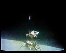 Apollo 16 ascent from the lunar surface 23 April 1972.  On board were John Young and Charles Duke.  They were met in lunar orbit by T.K. Mattingly.
