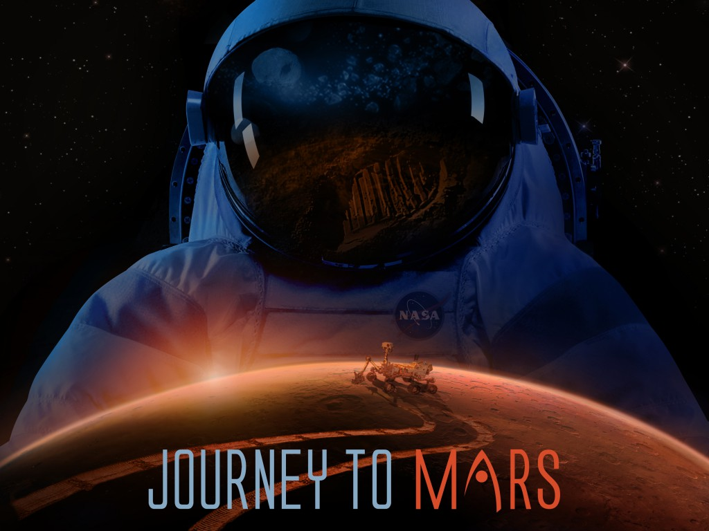 Artwork depicting an astronaut helmet, a bootprint on Mars, and a rover driving on the surface of Mars