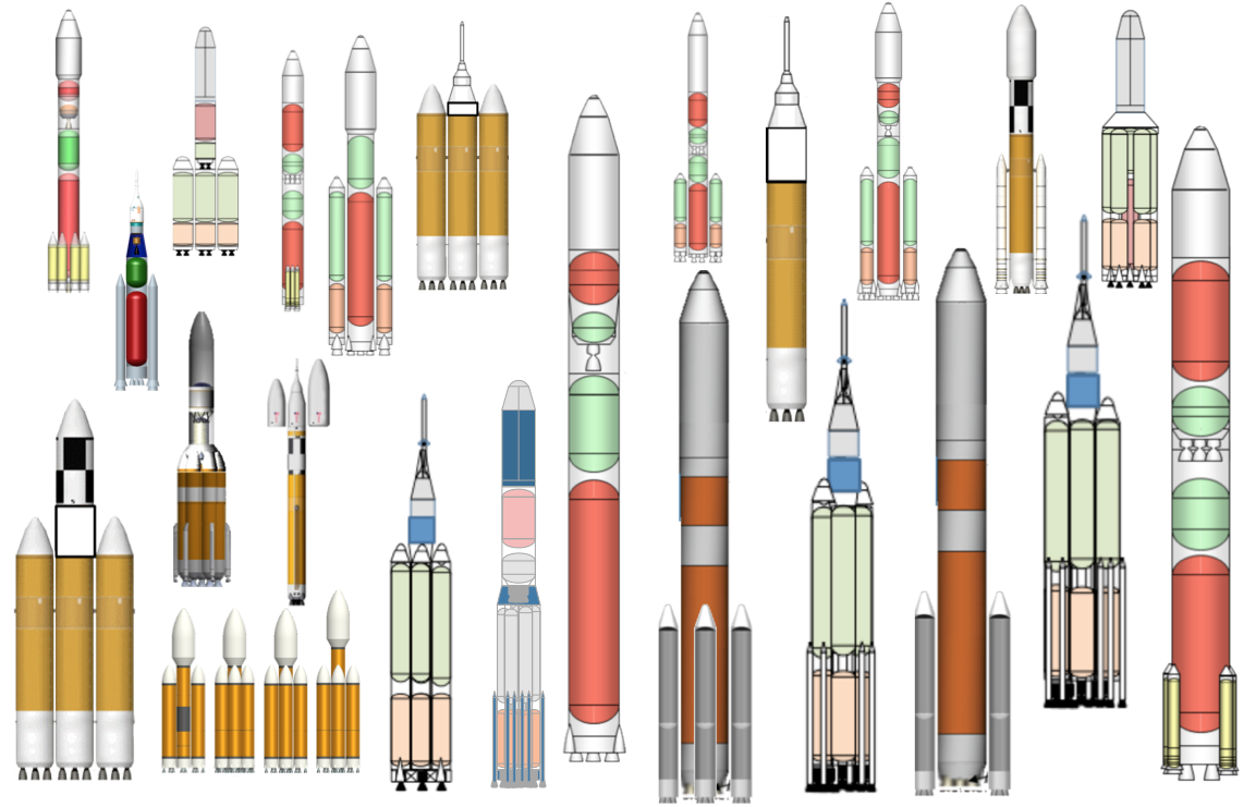 Small images of rocket design concepts