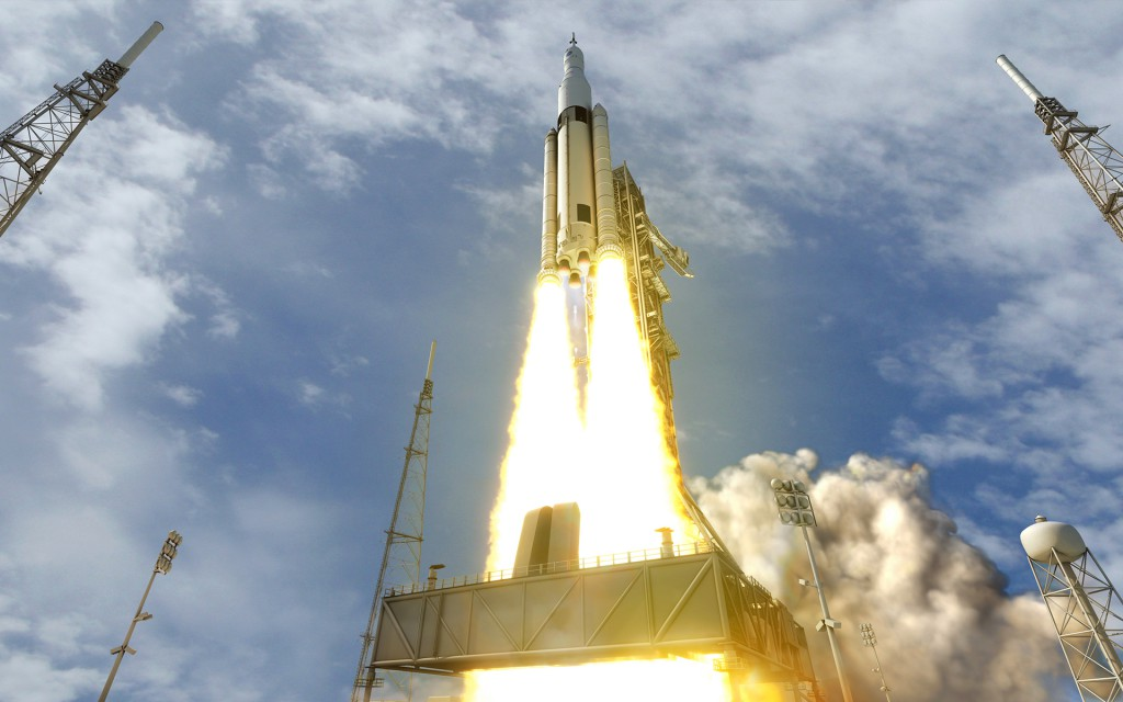 Artist concept of the launch of a Block 1 SLS