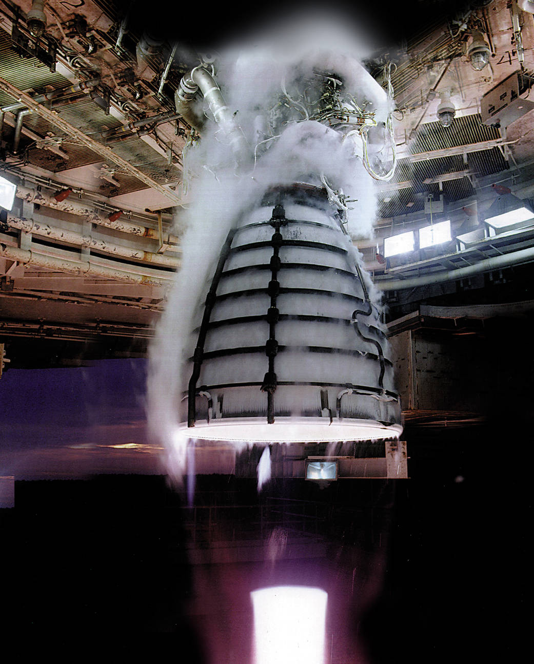 RS-25 engine undergoing testing