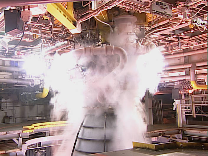 Top of an RS-25 engine during a test firing
