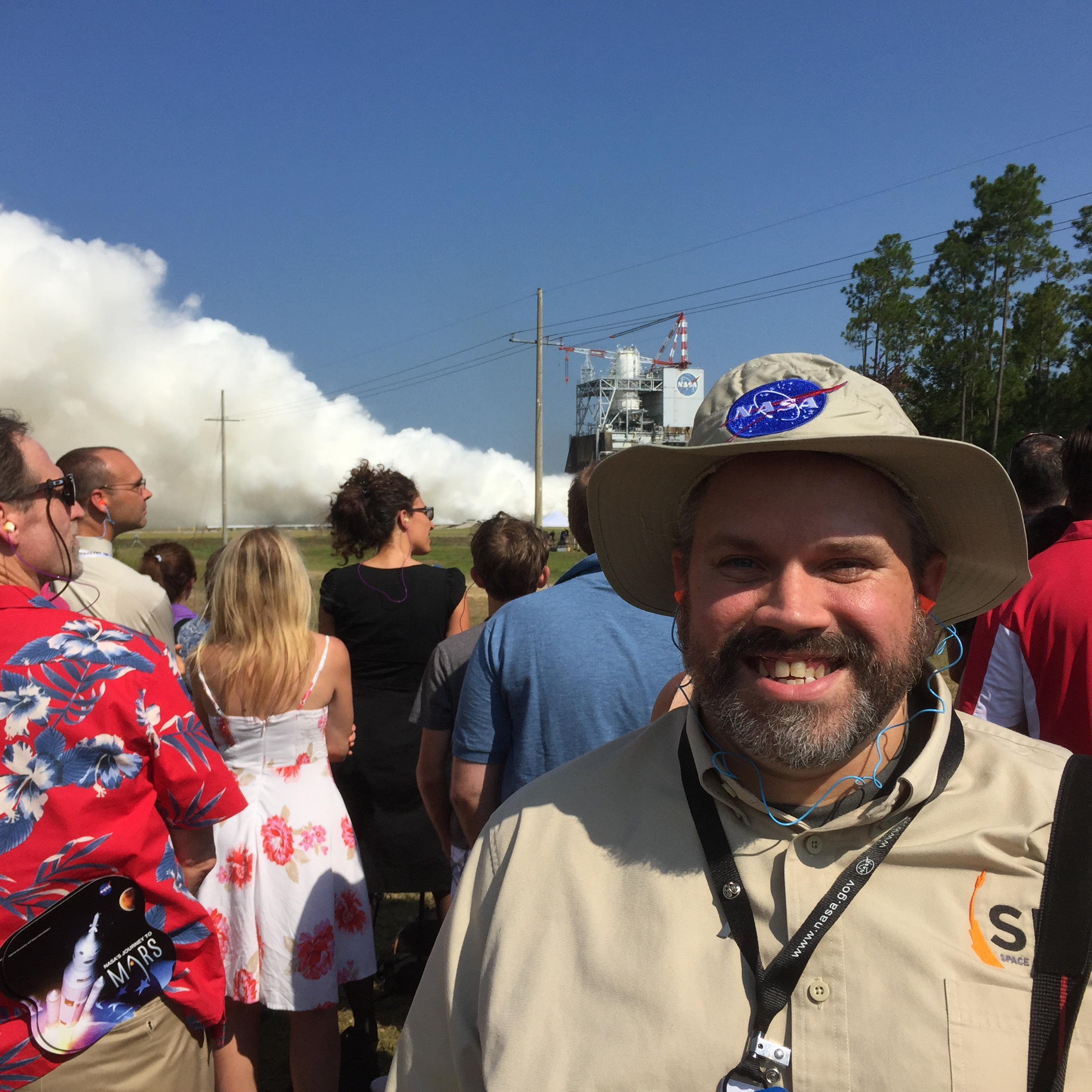 David Hitt in front of RS-25 engine test