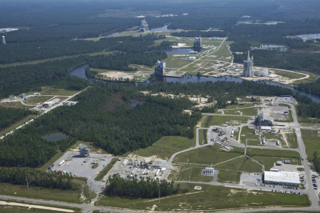 Aerial view of the test area at NASA's Stennis Space Center