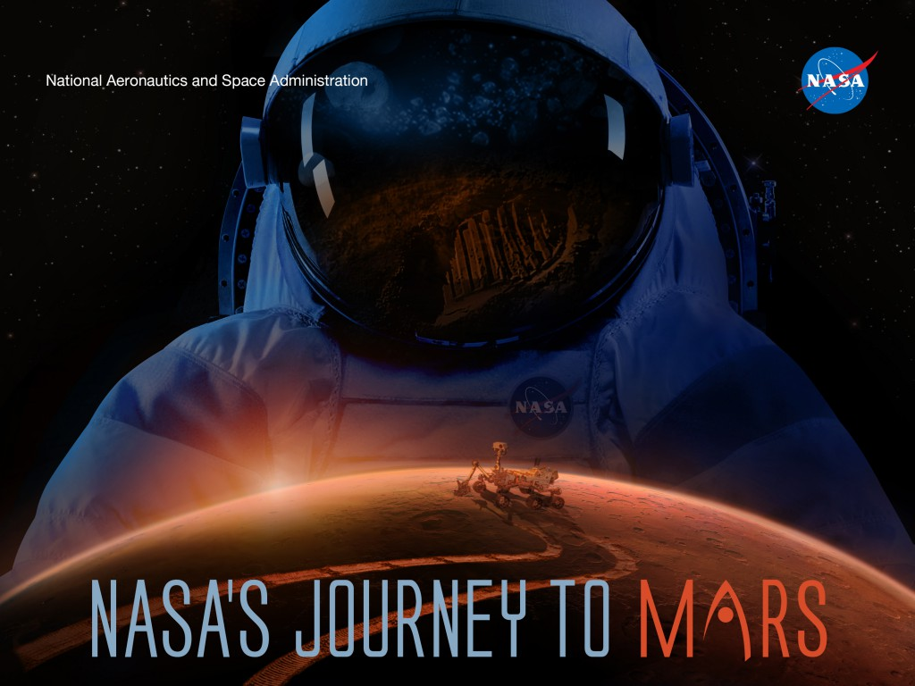 A graphic showing an astronaut above the Mars horizon with a rover on the surface
