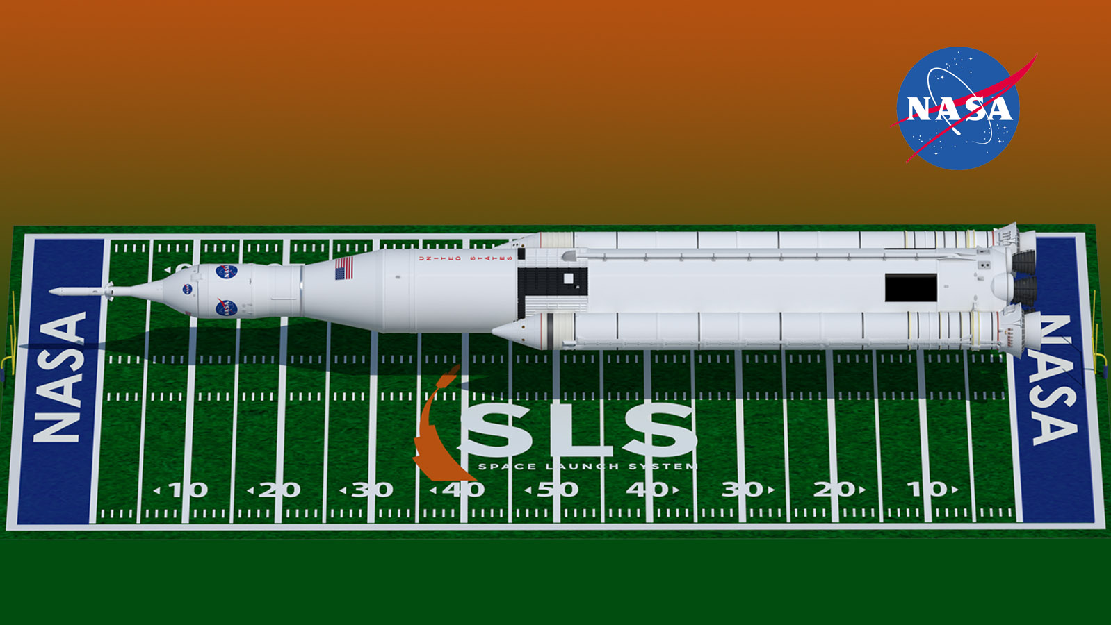 A graphic showing that SLS would stretch almost from one end of a football field to the other