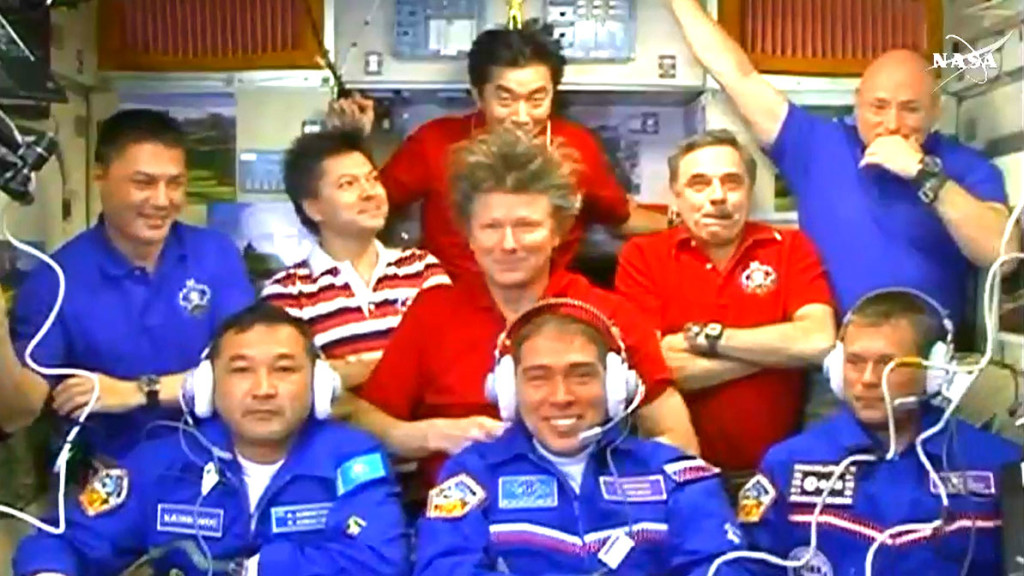 Nine astronauts and cosmonauts aboard the International Space Station in September 2015