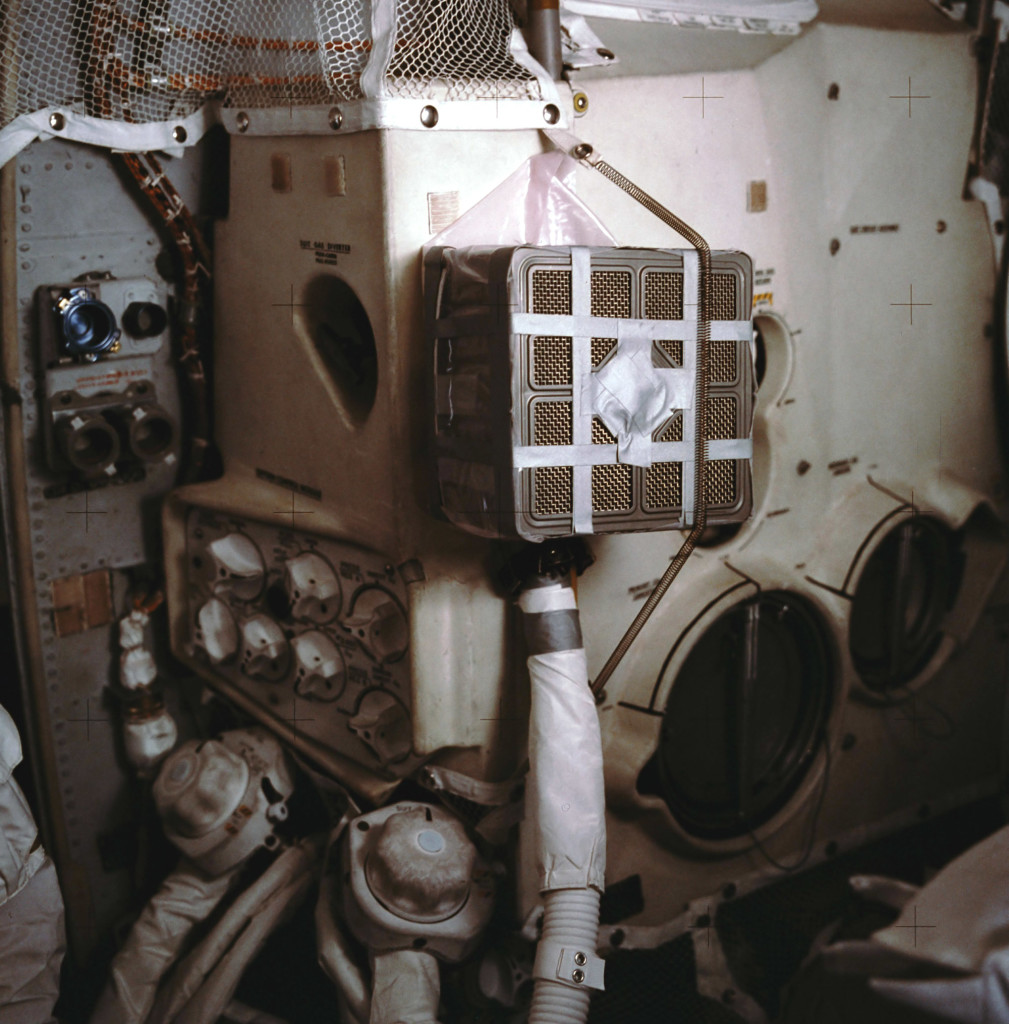 The real-life carbon-dioxide scrubber assembly from Apollo 13