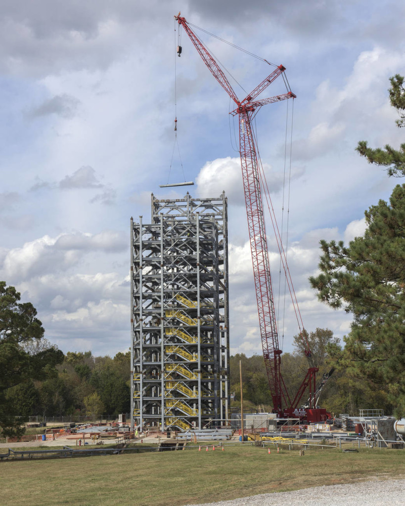 A new SLS test stand being built at Marshall Space Flight Center