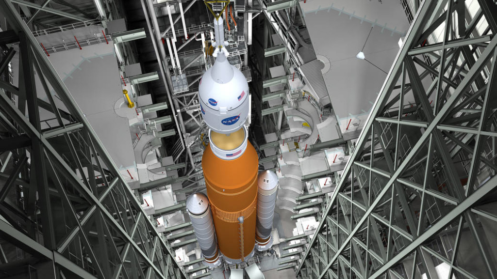 Artist's concept of SLS stacking at Kennedy Space Center