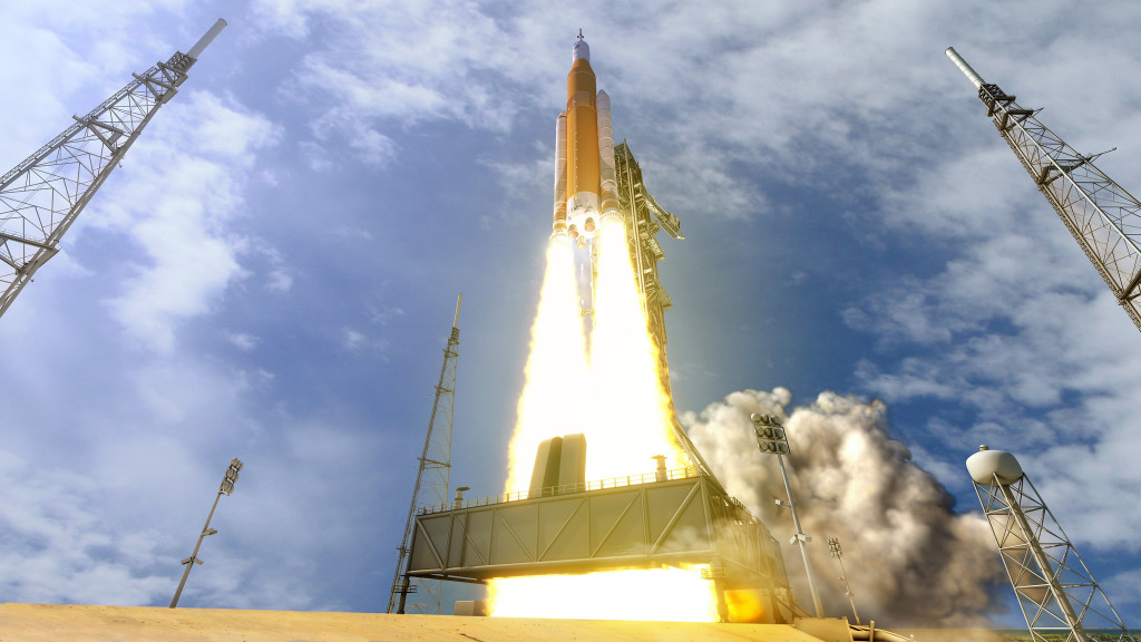 Artist's concept of an SLS launch