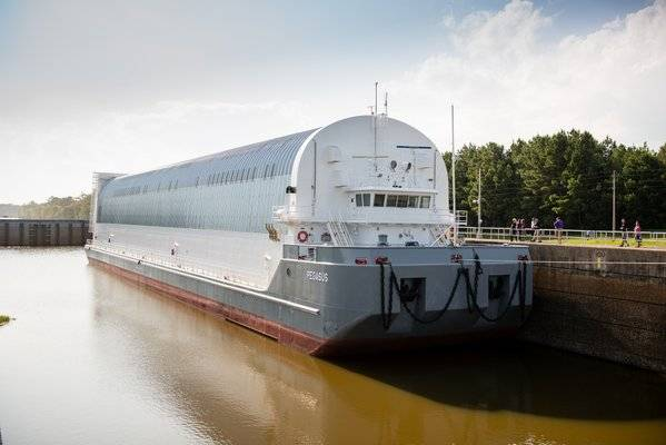 The Pegasus barge that will transport SLS