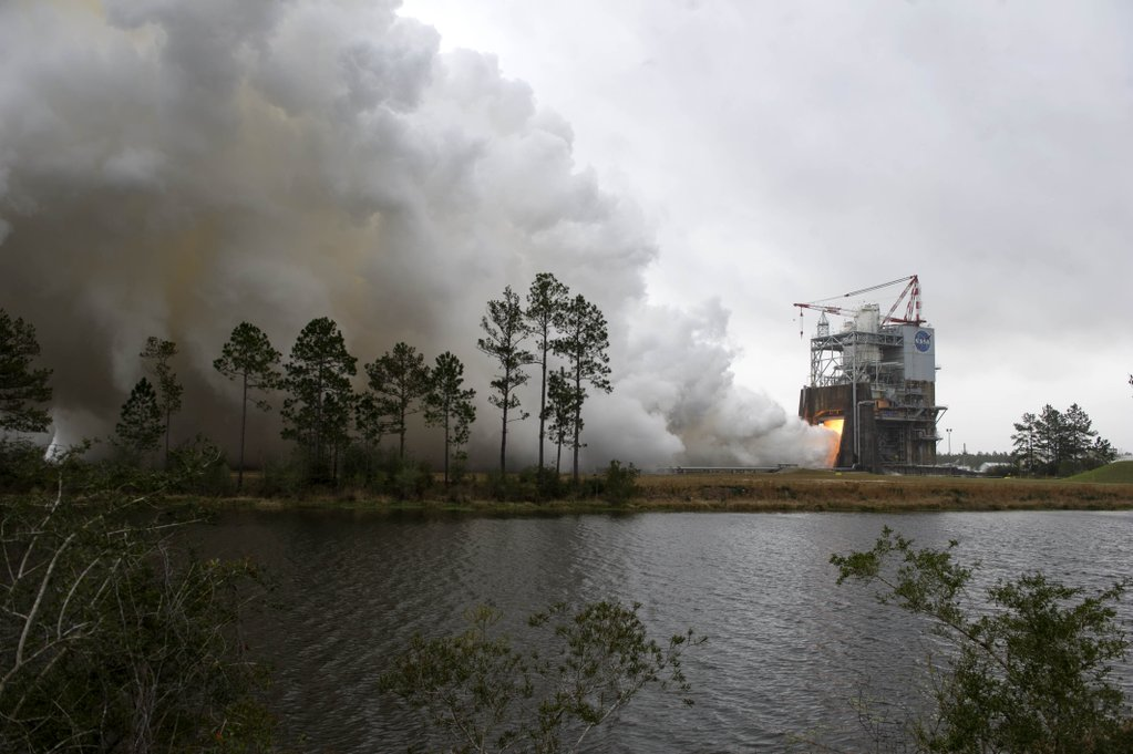 View of the test stand during the test of engine 2059 at Stennis Space Center on March 10.