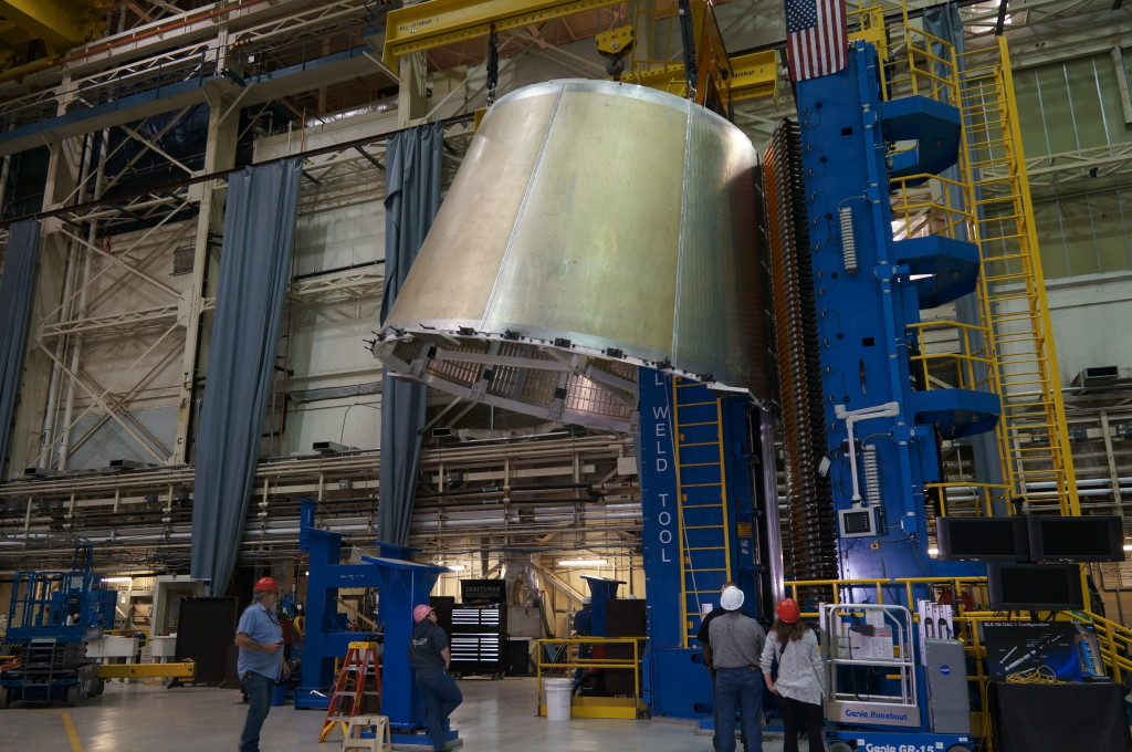 The top half of a test version of the SLS Launch Vehicle Stage Adapter on a weld tool at Marshall
