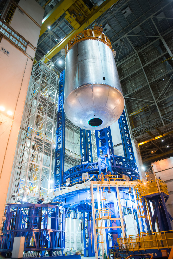 SLS liquid oxygen tank weld confidence article comes off the Vertical Assembly Center at Michoud Assembly Facility.