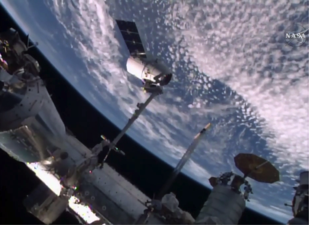 A Dragon capsule is being berthed to the International Space Station