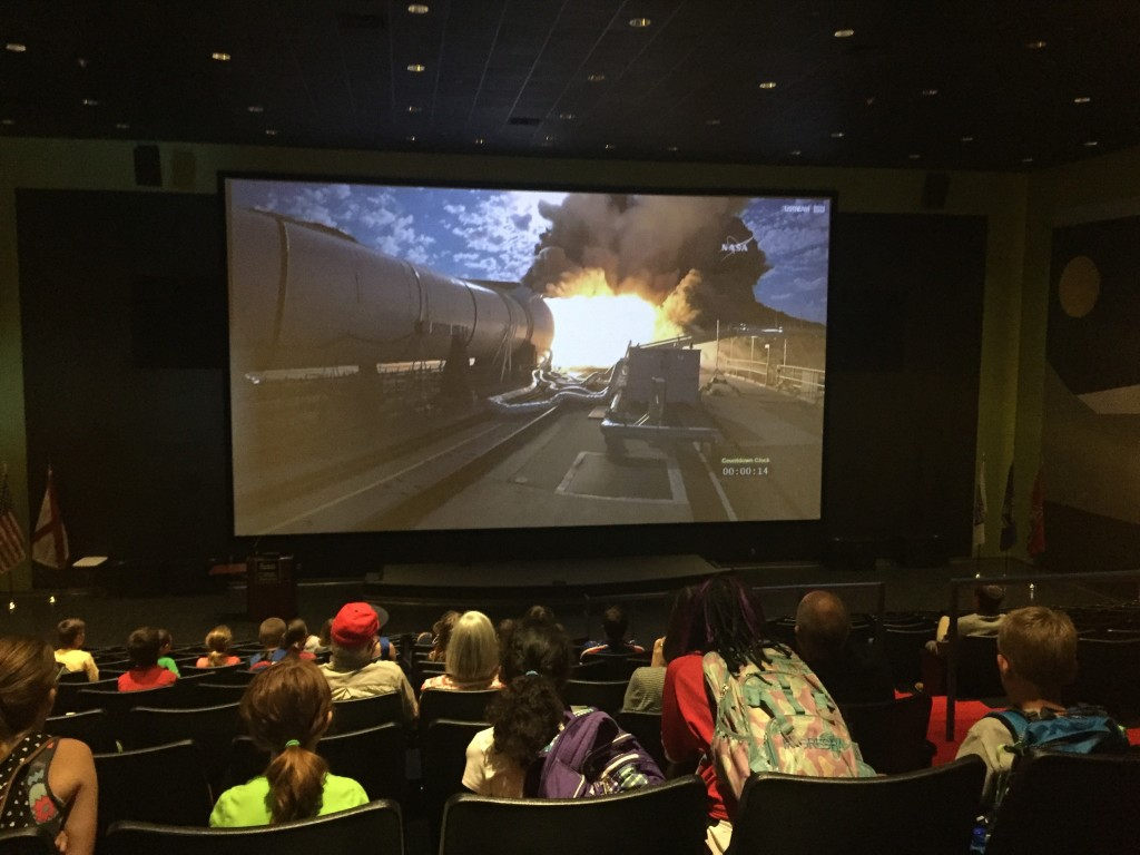 Museum visitors and Space Camp trainees watching the QM-2 test at the U.S. Space & Rocket Center in Huntsville, Alabama