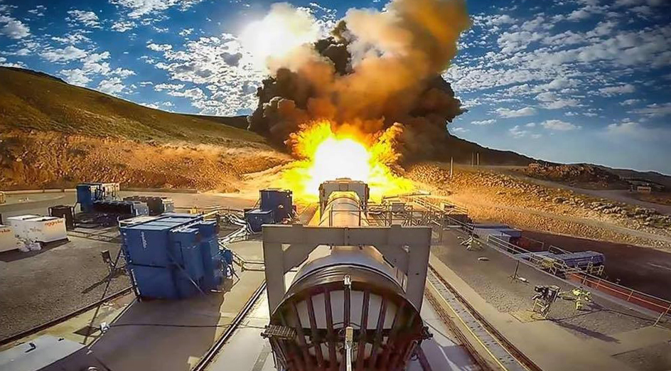 View from the forward end of the QM-2 booster during the test firing