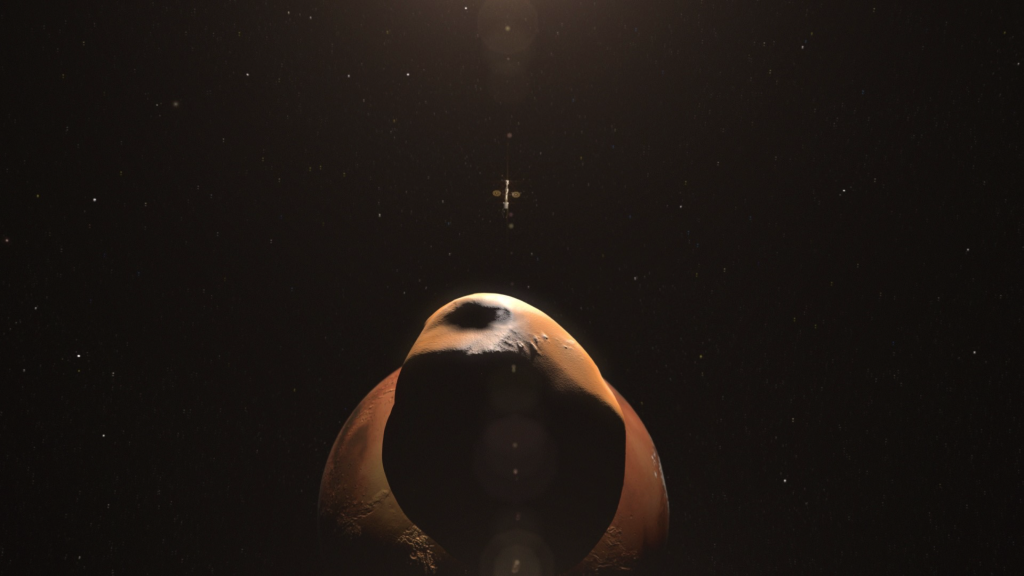 A spacecraft approaches Mars and its moons
