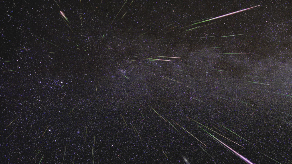 An outburst of Perseid meteors lights up the sky in August 2009 in this time-lapse image. Stargazers expect a similar outburst during next week's Perseid meteor shower, which will be visible overnight on Aug. 11 and 12. Credits: NASA/JPL