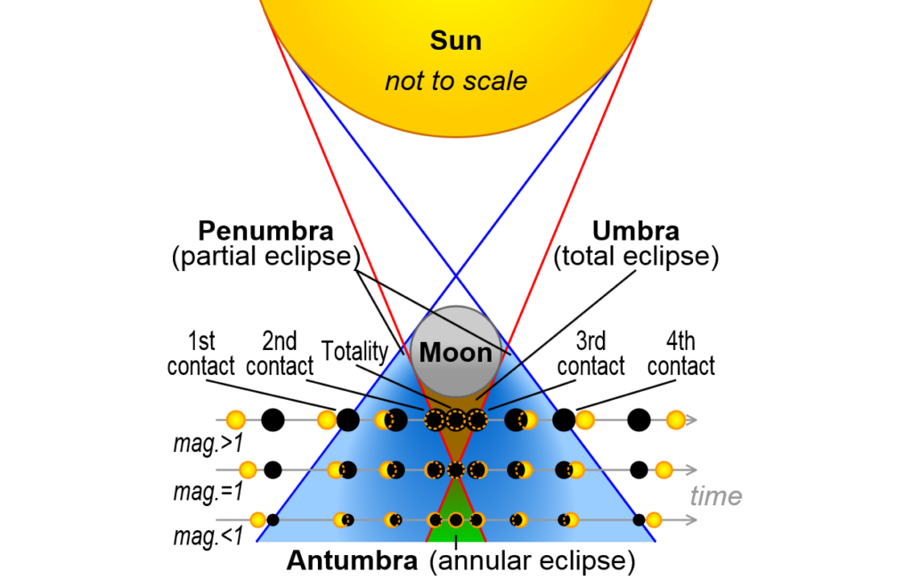 Each of the three types of solar eclipse are caused by the moon blocking light from different parts of the sun.