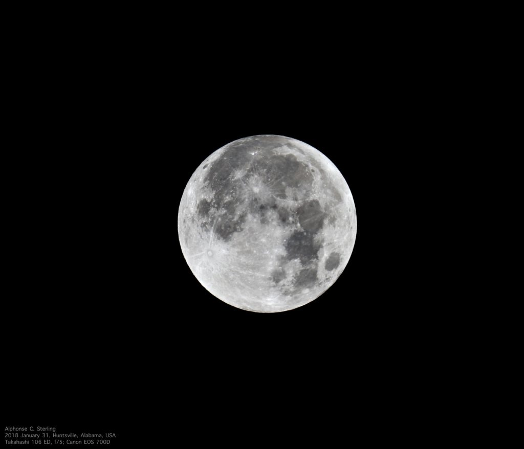 This image is of the full Moon before the January 2018 lunar eclipse.